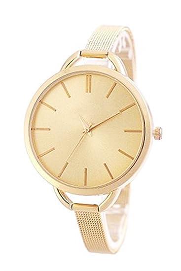 Ornamentales liche Fashion Rose de oro reloj mujer acero inoxidable reloj de pulsera Relojes de pulsera