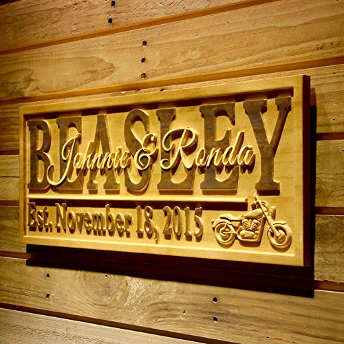 Advpro Wood Custom Wpa0370 Motorcycle Gifts Family Name First Names Personalized With Established Date Wedding Gift Wood Engraved Wooden Sign   Medium 18 25  X 7 25