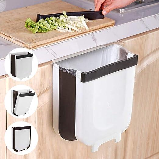 Cubos de Basura para la Cocina Ba/ño Cubos de Basura Plegable 9L Multifuncional Bote de Basura Colgante Extraible para la Cocina,Utilizado en Cocina Con Gancho Invisible Autom/óvil Dormitorio