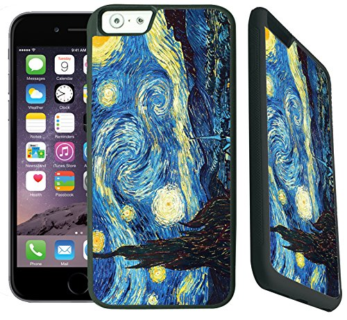 - [TeleSkins] - Vincent Van Gogh - The Starry Night- Hard Plastic Case For iPhone 6 / 6S - Ultra Durable Slim Fit and Highly Protective Black Rubber TPU Silicon Snap On Back Case / Cover for Girls.]