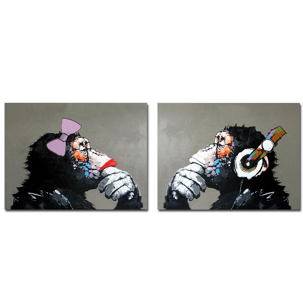 Muzagroo Art Gorilla with Headphone Oil Painting Hand Painted Art on Canvas Pictures for Living Room Large Size Paintings Ready to Hang L by Muzagroo Art