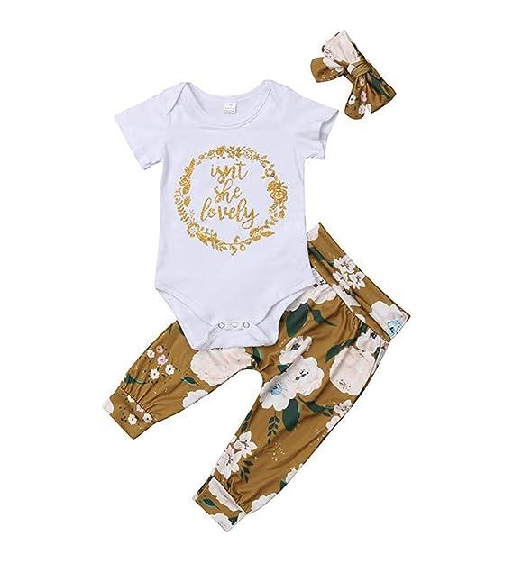 Ropa Bebe Niña Recién Nacido Niña Peleles Monos de Manga Corta + Floral Pantalones + Venda de Pelo,0-18 Meses Bebé Ropa