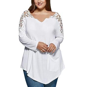 blusas de mujer de moda elegantes tallas grandes, Sannysis camisetas manga larga encaje decoración mujer