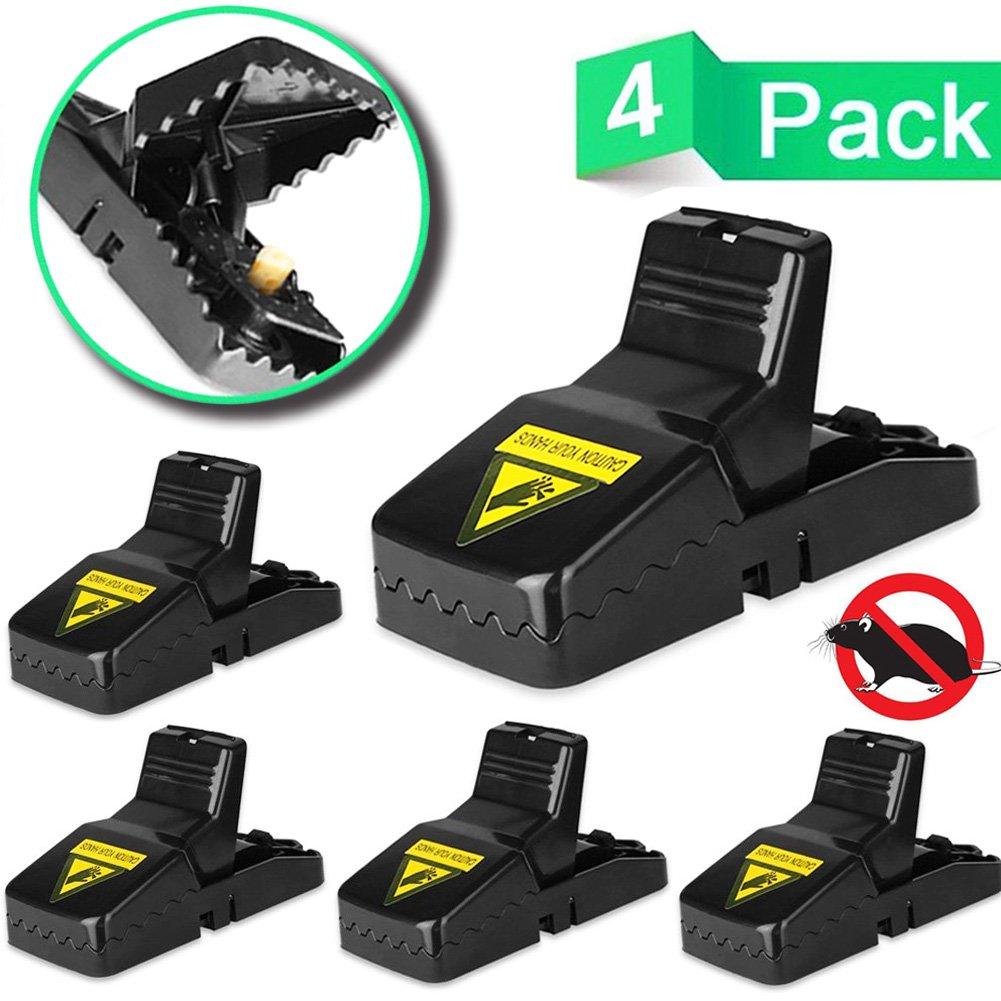 LENKA Best Mouse Trap, MiceRat Trap Snap Humane Power Rodent Killer, [Quick & Effective] 100% Mouse Catcher, [Safe & Sanitary] FamiliesPets Protector - 4 PACK