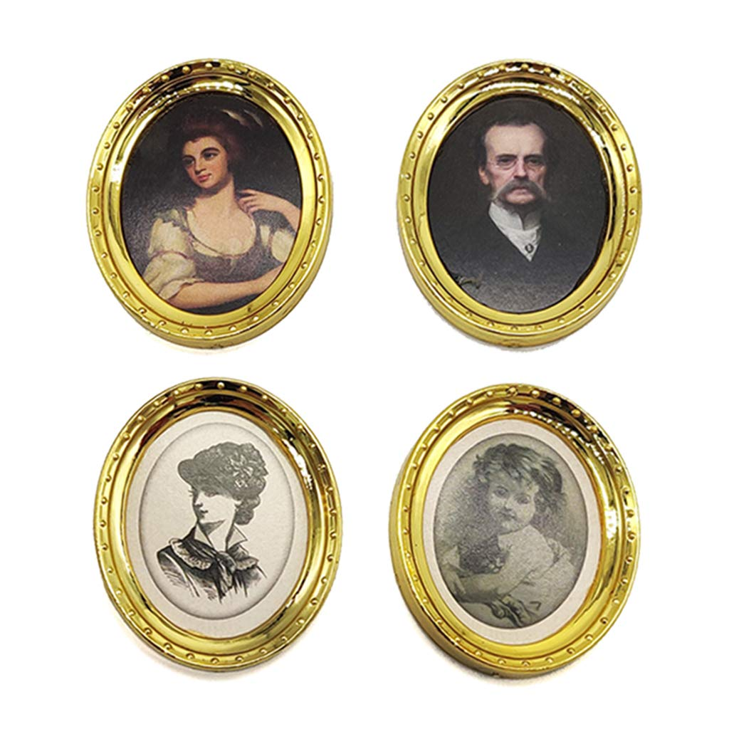 Colcolo 4 Pieces Mini Picture Frame Antique Portrait Oil Painting Model Wall Decor Room Furniture for 1/12 Dollhouse, Kids Birthday Gifts
