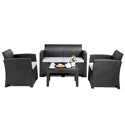 Amazon.com : n-bright shop Rattan Sectional Sofa 4 Piece ...