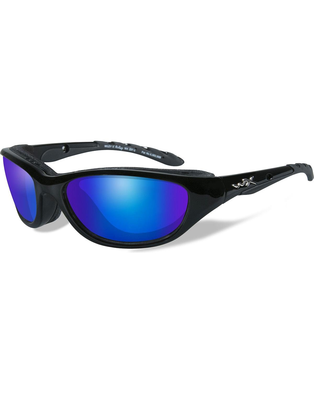 Wiley X Men's Air Rage Polarized Blue Mirror Gloss Sunglasses Black One Size