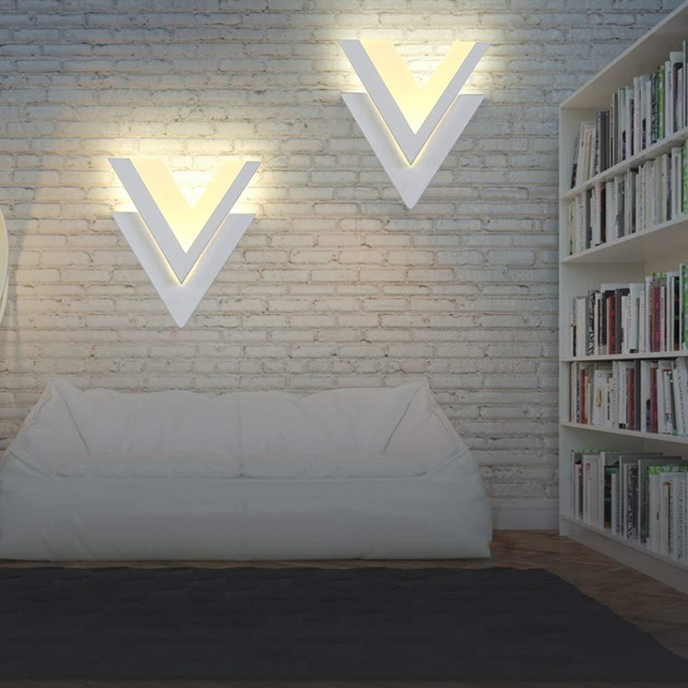 Wsw Lampe De Mur LED Créative en Forme De V Lampe De Chevet Personnalisée Salon Chambre Couloir Escalier Salle De Bains Lampe Murale Décorative pour 5-10 Mètres voiturerés Brillant