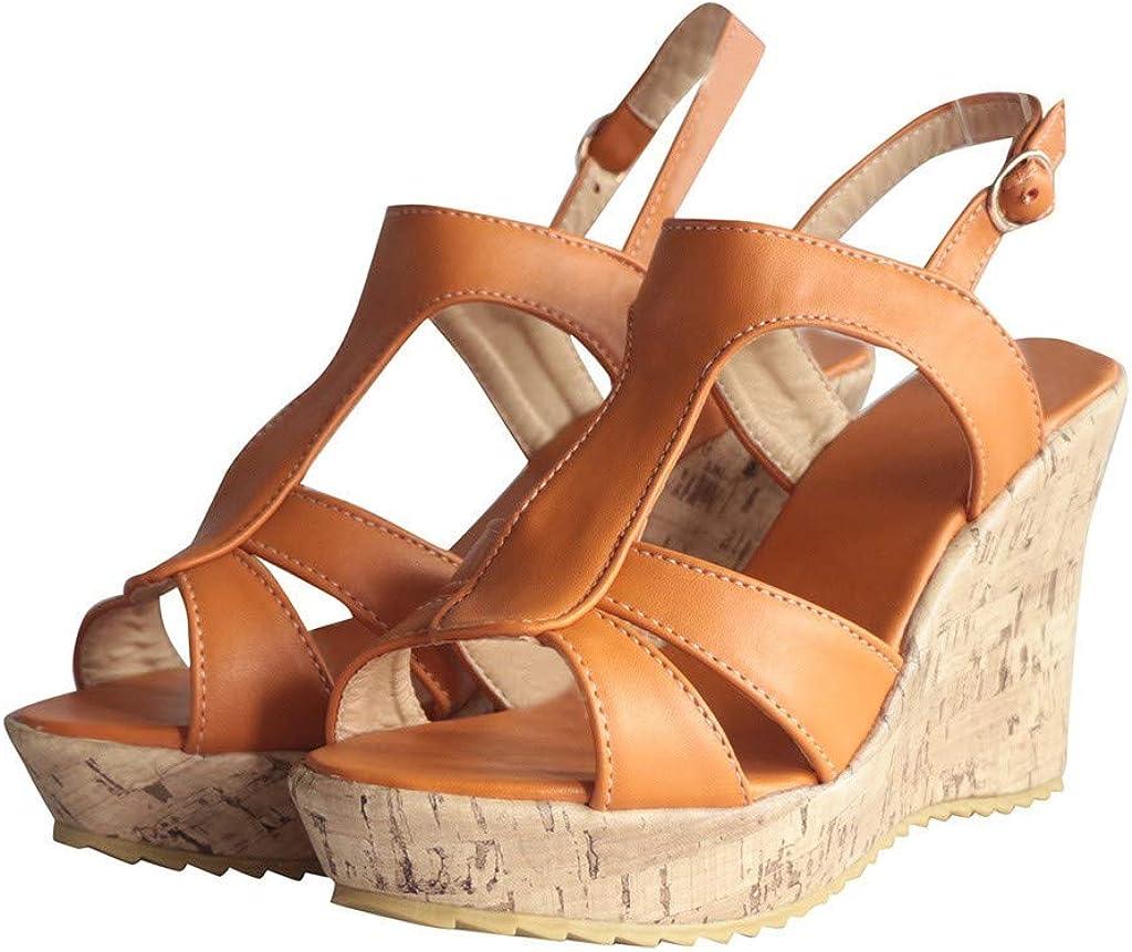 EUZeo Chaussures Femme compensées été Confortable Cuir