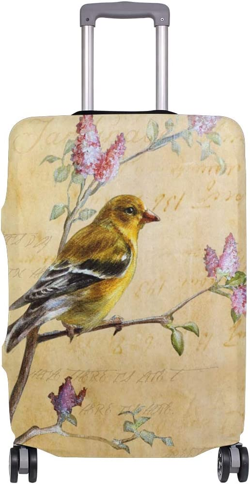 FOLPPLY Vintage Spring Birds Butterfly Luggage Cover Baggage Suitcase Travel Protector Fit for 18-32 Inch