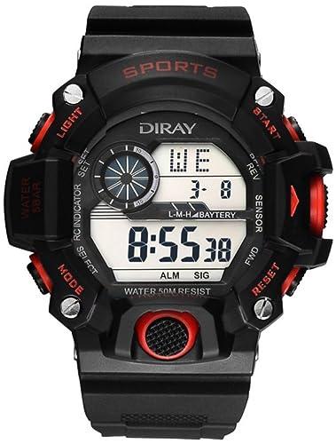 DIRAY Hombre Digital Cuarzo Reloj con Plástico Correa Impermeable con Caja de Reloj Negro Rojo HSBCP0041: Amazon.es: Relojes