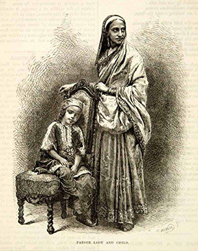 Folk Costumes Of India (1876 Wood Engraving Antique Parsi Parsee Lady Child India Folk Costume Sari TWW1 - Original In-Text Wood Engraving)