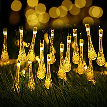 15ft 20 LED Solar Christmas Lights Outdoor Garden String Light Waterproof  Tear Drop Style, For Garden, Patio, Yard, Camping, Festival Parties,  Wedding (Warm ...