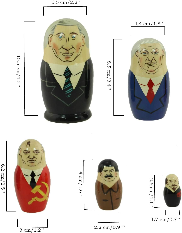 Azhna 5 pcs Russian Presidents Nesting Doll Funny Russian Doll 10.5 cm Wooden...