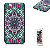 Funyye Relief Rubber Case for iPhone 6 Plus,Stylish Mandala Pattern Soft Silicone TPU Gel Cover for iPhone 6S Plus,Slim Fit Shockproof Non Slip Back Cover Smart Shell Protective Case for iPhone 6 Plus/6S Plus + 1 x Free Screen Protector