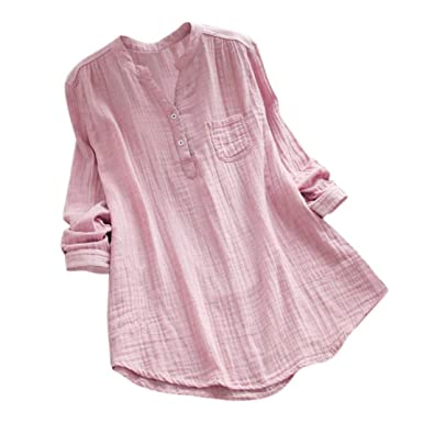 6bacc47dc7339 Challyhope Women Crushed Linen Casual Loose Button-Down Shirt Solid Basic  Blouse Henley Tops (