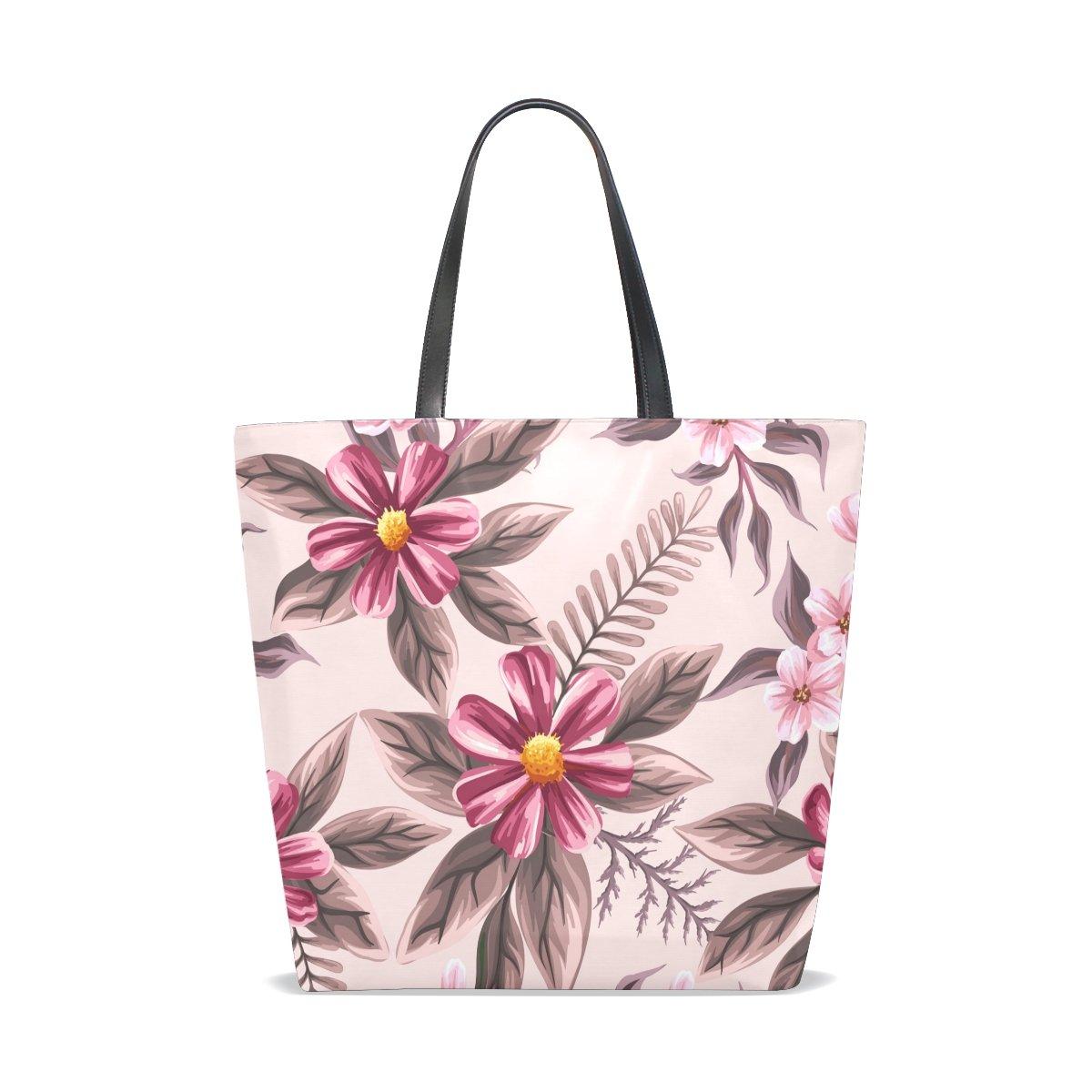 Handbags for Women Watercolor Flowers Tropical Plants Leaf Tote Shoulder Bag Satchel for Ladies Girls