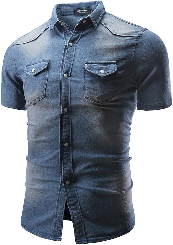 QitunC Homme Manche Courte Jean Chemise Casual Slim Fit Revers Bouton Denim Chemises avec Poches Bleu