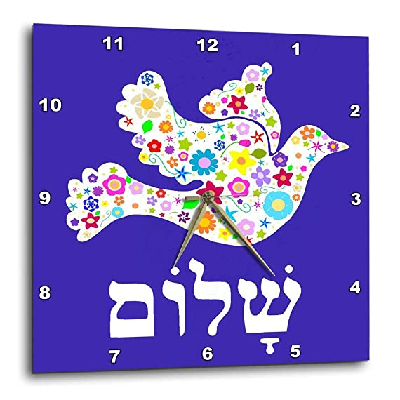 3dRose DPP_58351_1 White Floral Dove of Peace with Hebrew Shalom Text Flowery Flowers Jewish Judaism Wall Clock, 10 by 10