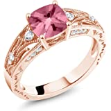 925 Rose Gold Plated Silver Ring Set with Cushion Pink Topaz from Swarovski