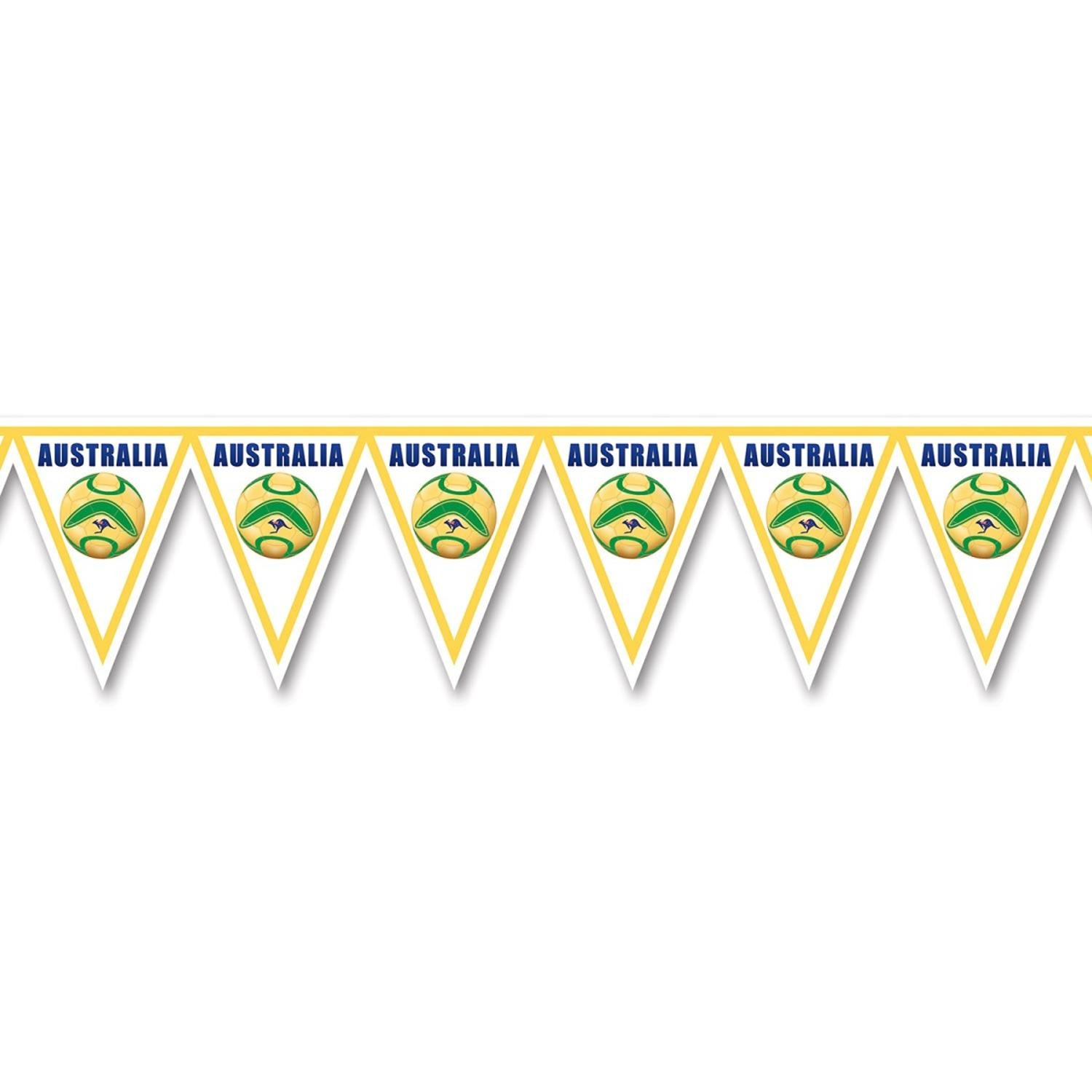 Pack of 6 Green, Yellow and White ''Australia'' Soccer Themed Pennant Banner Party Decorations 7.4'