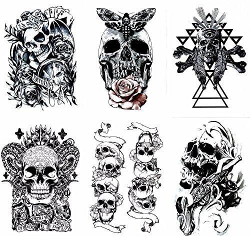 Gilded Girl Skull amp Skeleton Pirate Tattoos Set of 6 Body Art for Men amp Women Waterproof Large Arm Temporary Tattoo