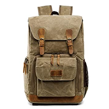 Amazon.com: Botrong Premium Vintage Photography Backpack Waterproof Photography Canvas Bag (Khaki): Home & Kitchen