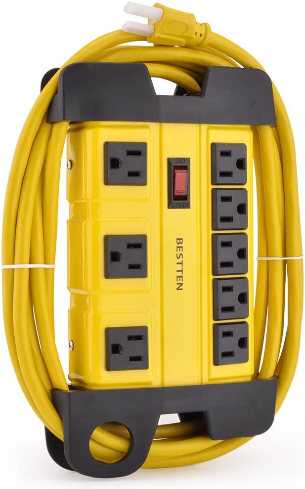 BESTTEN 8-Outlet Metal Power Strip with 12-Foot Long Extension Cord