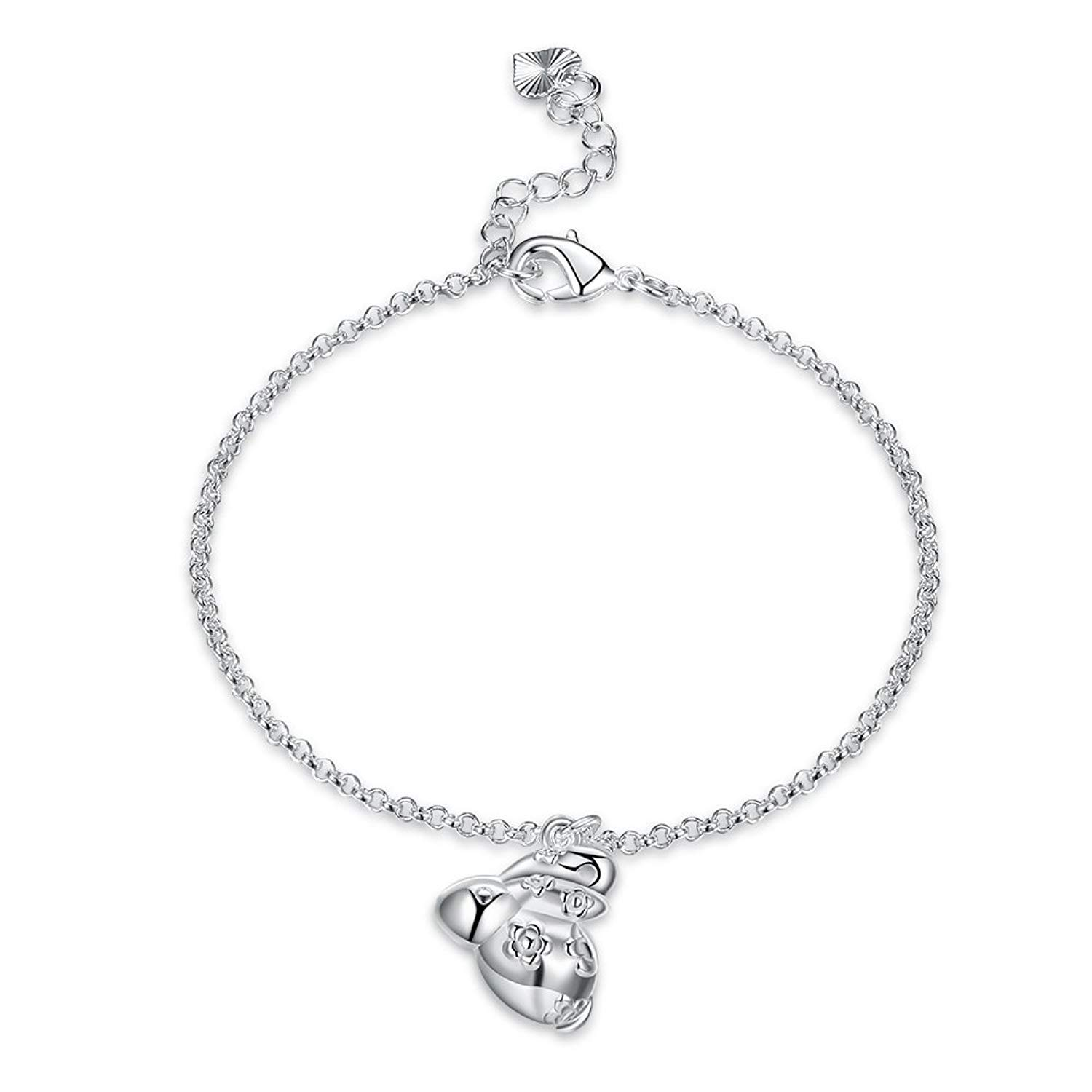 DVANIS Exquisite Zodiac Bracelet Rabbit Shape Pendant Silver Plated Women Girls Birthday Gift