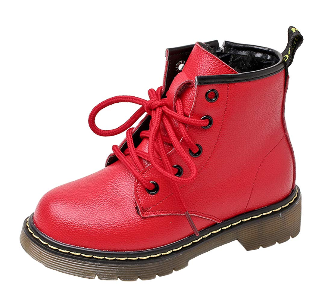 WUIWUIYU Boys Girls Lace-Up Side Zipper Fur Lined Ankle Boots Snow Boots Oxfords Shoes Red Size 4 M