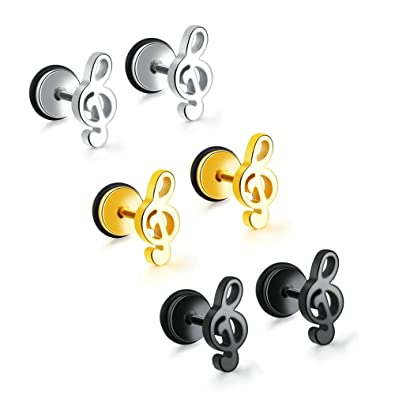 Onefeart Stainless Steel Stud Earrings for Women Girls 11MM Music Style Mini Musical Note ubpNweMxsA