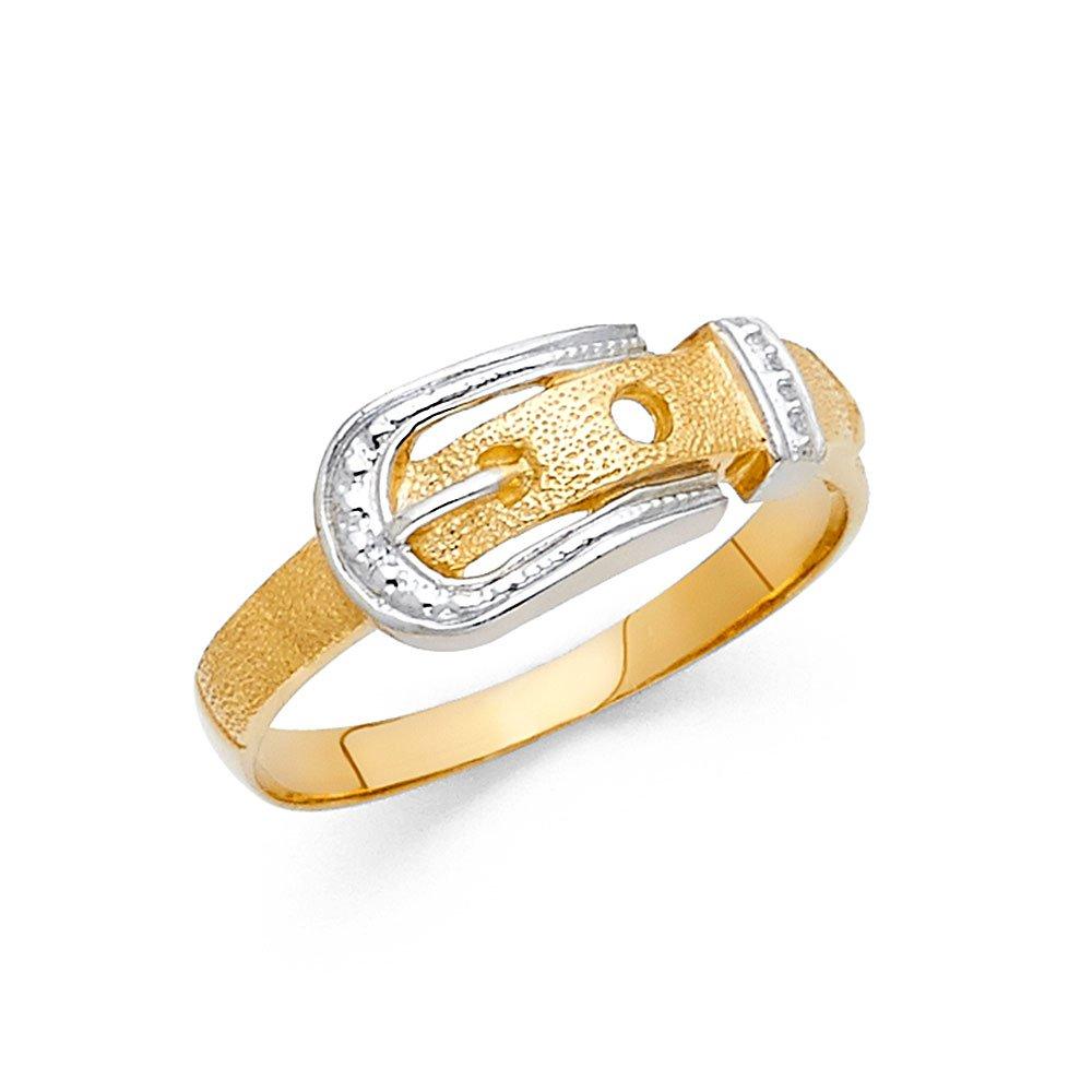 14K Solid Gold Detailed Belt Buckle Band Ring, Size 6