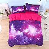 Lebather Amazing Galaxy Print Bedding Cotton 4 Piece Duvet Cover Set, 2 Pillow Sham 1 Flat Sheet 1 Duvet Cover, No Comforter (King, Purple Galaxy)