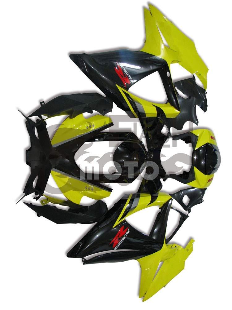 FlashMoto suzuki 鈴木 スズキ GSX-R600 GSX-R750 K8 2008 2009 2010用フェアリング 塗装済 オートバイ用射出成型ABS樹脂ボディワークのフェアリングキットセット (ブラック,イエロー)   B07MNG4S5Z