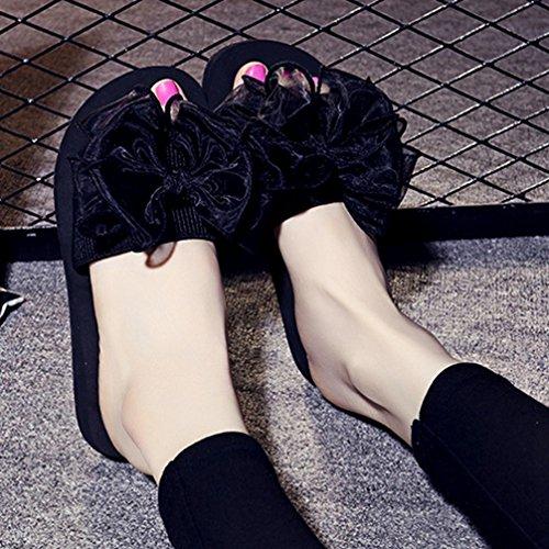 Bowknot Slide Plana Mujer Moda Encaje Sandalias Negro Verano Antideslizante Plataforma de Bohemio Playa Sandalias Sqwg0AIxn