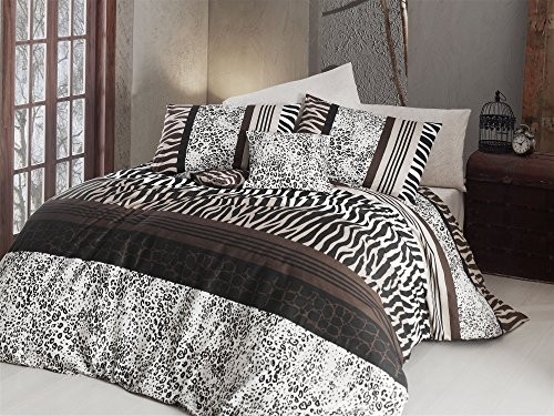 LaModaHome 3 Pcs Luxury Soft Colored Bedroom 65% Cotton Quilt Duvet Cover Set Zebra Leopard Pattern Wild Animal Spot Africa Brown Background Queen/Full/ Bed