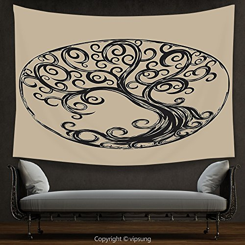House Decor Tapestry Tree of Life Decor Collection tree silhouette pattern in Cycle shape vintage style curvy twigs illustration Wall Hanging for Bedroom Living Room (Halloween Tree Silhouette Pattern)