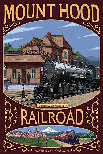 Hood River, Oregon - Mt. Hood Railroad (16x24 Giclee Gallery Print, Wall Decor Travel Poster)