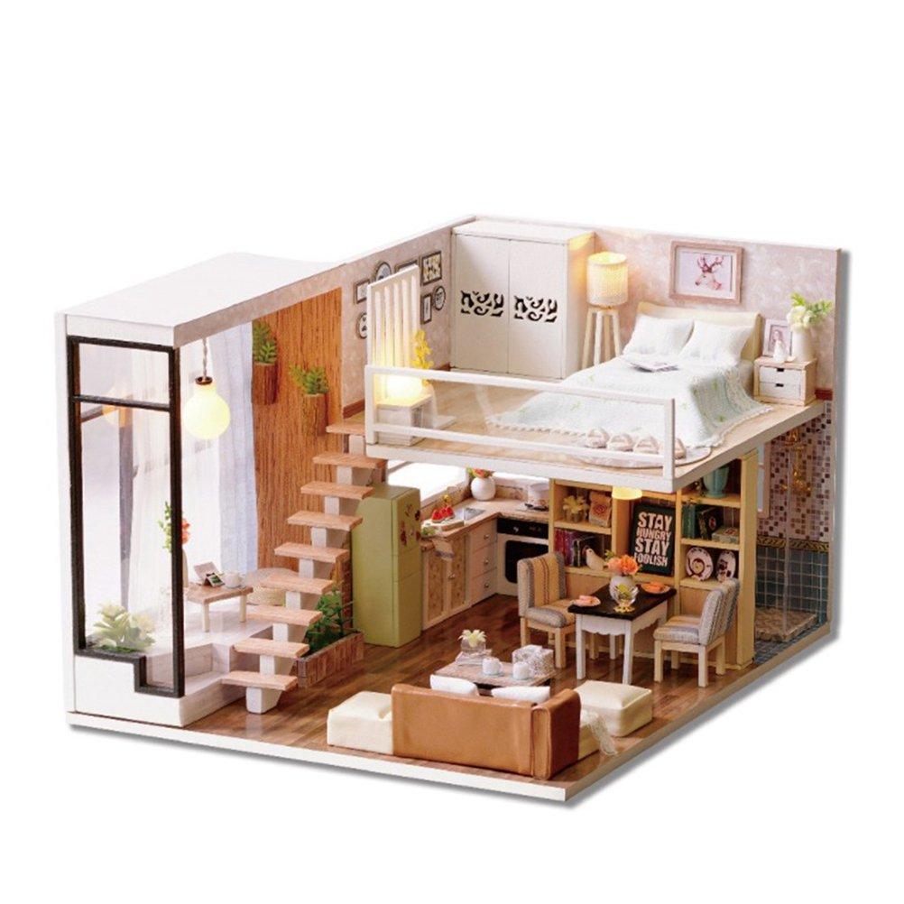TOYMYTOY Dollhouse miniatura DIY House Kit educativo hecho a mano Assembly Model Creative Room con muebles (esperando el momento)