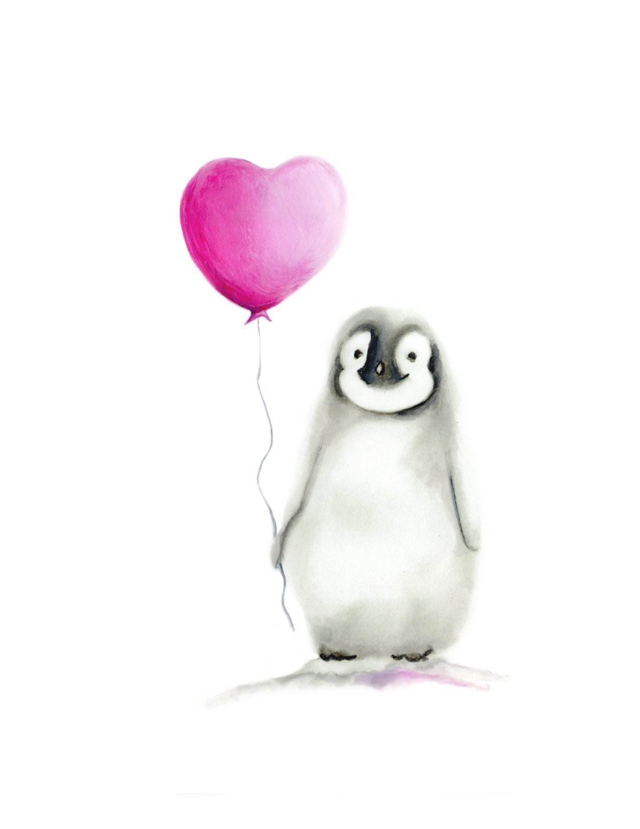 Penguin with Heart Balloon, Nursery Print for Baby, Various Sizes Available, UNFRAMED PRINT by Studio Q Gallery