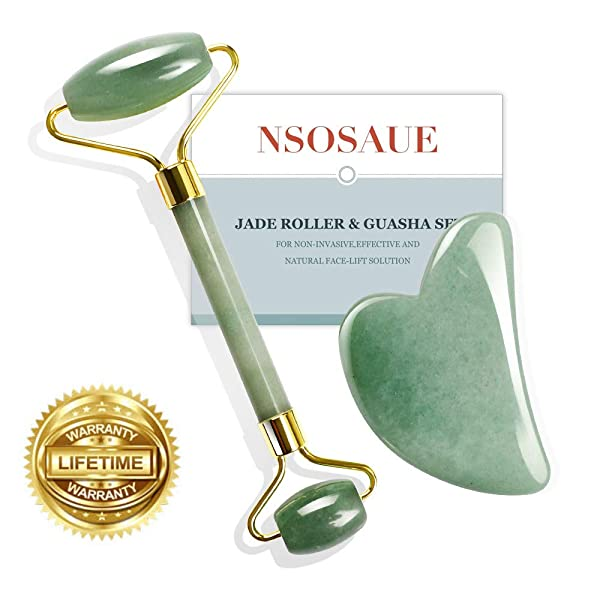 Natural Jade Roller For Face - Gua Sha Scrapping - Aging Wrinkles,Puffiness Facial Skin Massager Treatment Therapy - Premium Authentic Jade Stone