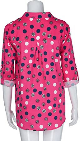 Tamaño Grande Lunares Ropa de Mujer,Lonshell Mujer Collar de pie Collar de Henley Punto de Ola Impresión Mangas largas Talla Extra Tops Suelto Blusa Camisa
