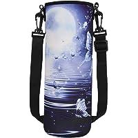 MELANIE'S POWER Water Bottle Carrier 17oz/25oz/34oz Wine Tea Bottle Sleeve Holder Sling Insulated Outdoor Sports Camping Travel Cross-Body Shoulder Bag Case Pouch Cover(S(for 17oz Bottle) Butterfly)
