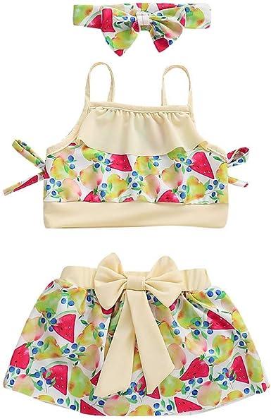 PinkLu niña Traje de baño niña Bañador con Estampado de Frutas Falda Banda de Pelo Bikini Traje de baño Conjunto: Amazon.es: Ropa y accesorios