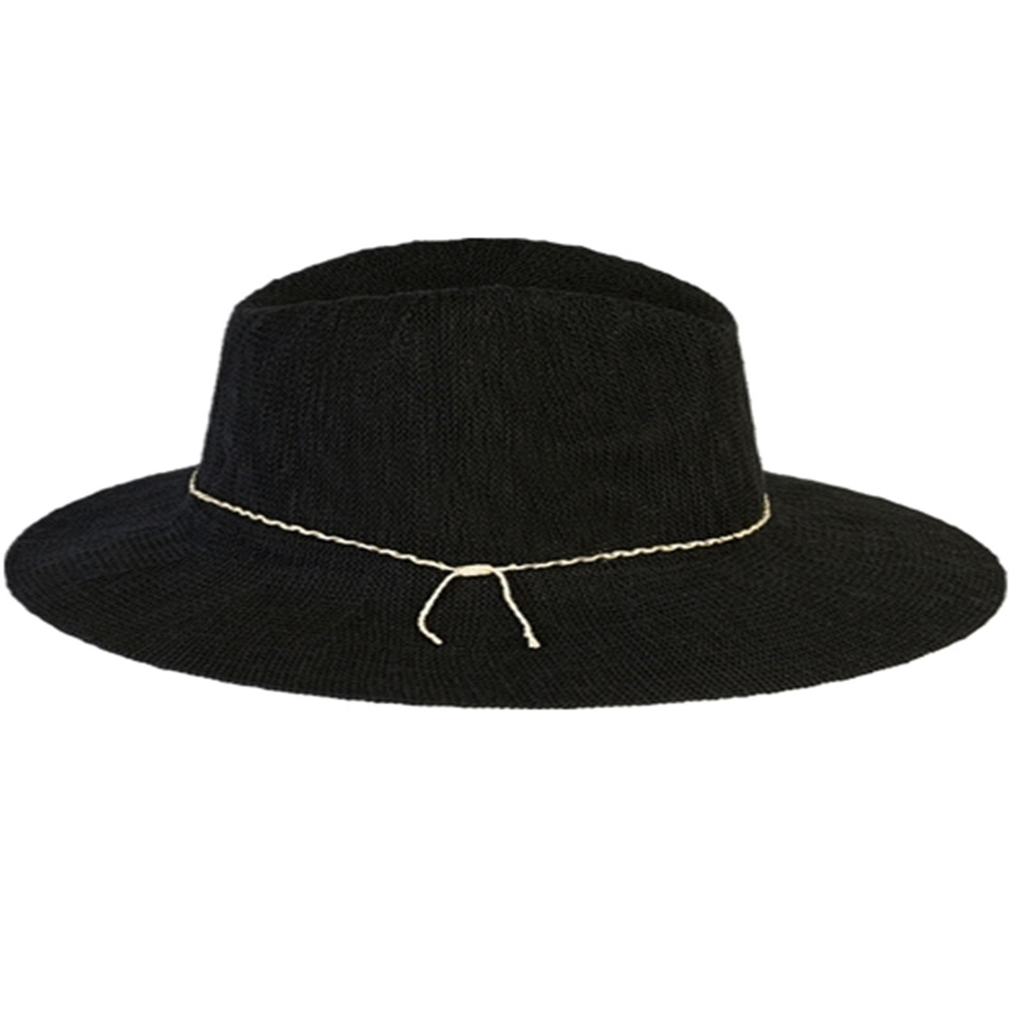 Sllxgli Spain style New Black Braided Panama Hat Vacation