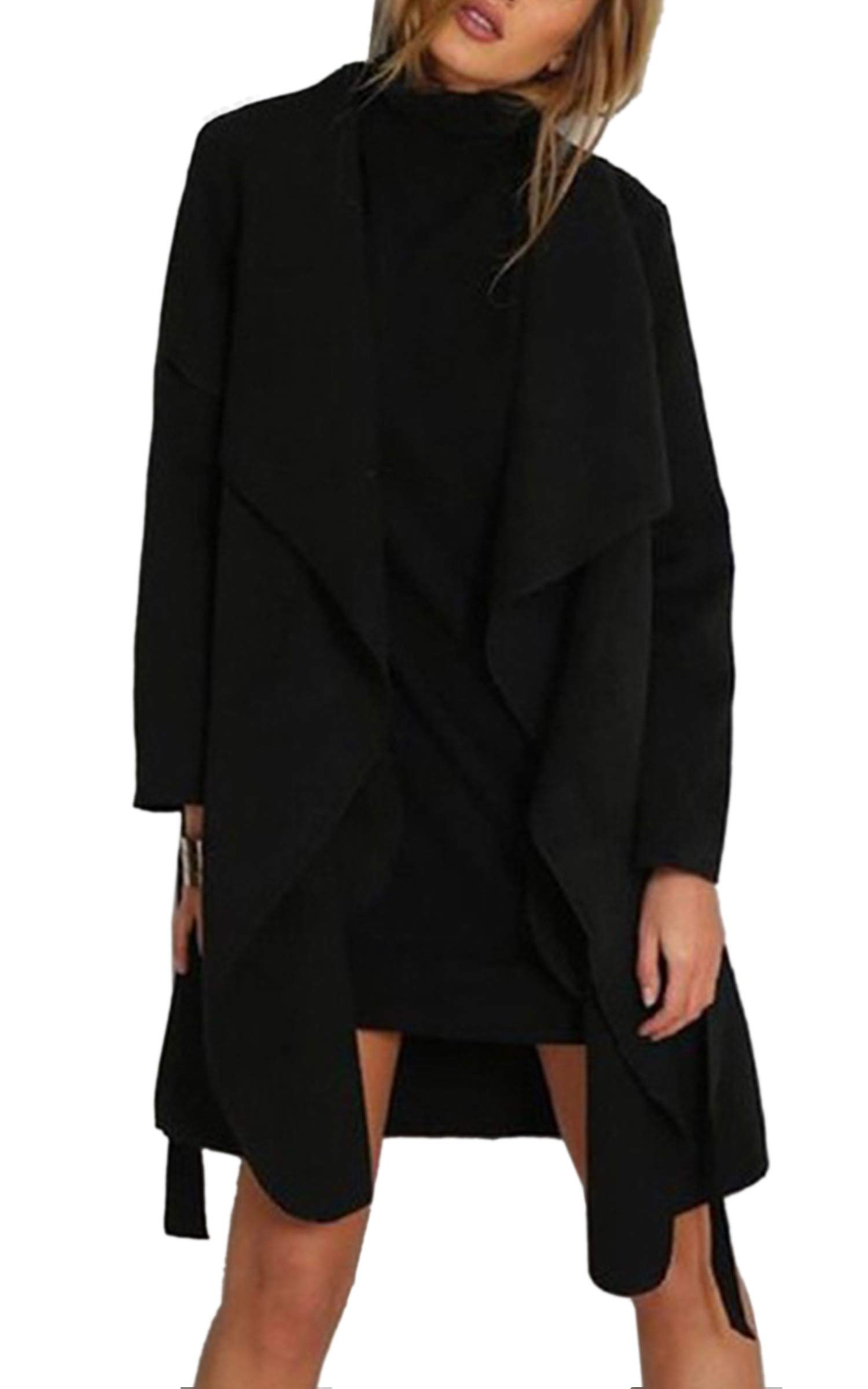 Angashion Women's Casual Long Sleeve Lapel Pocket Outwear Trench Coat Cardigan with Belt Black XL