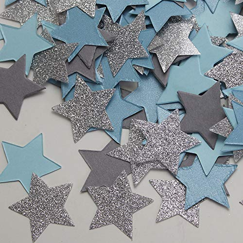 200pcs Twinkle Twinkle Little Star Blue Gray Silver Glitter Confetti First Birthday Baby Shower Party Decorations Baby Boy Shower Christmas Table Scatter Decorations