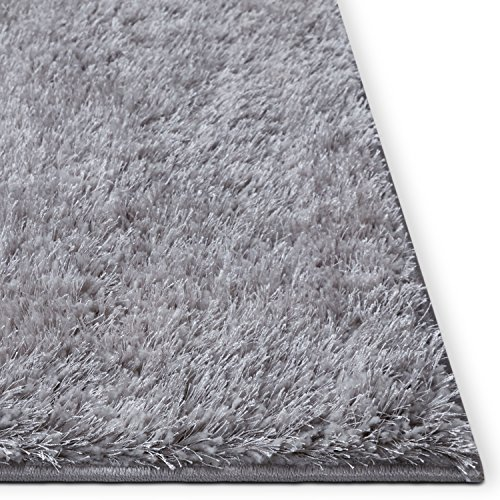 (Well Woven Luxy Soft And Plush Solid Shag Grey Plain Color Modern 5x7 (5' x 7') Area Rug Luster Pile Dense Plush Carpet)