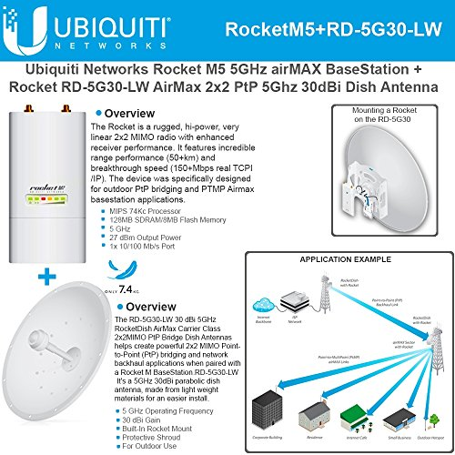 Ubiquiti RocketM5 Outdoor BaseStation 5GHz + RD-5G30-LW RocketDish 30dBi 5GHz by Ubiquiti Networks