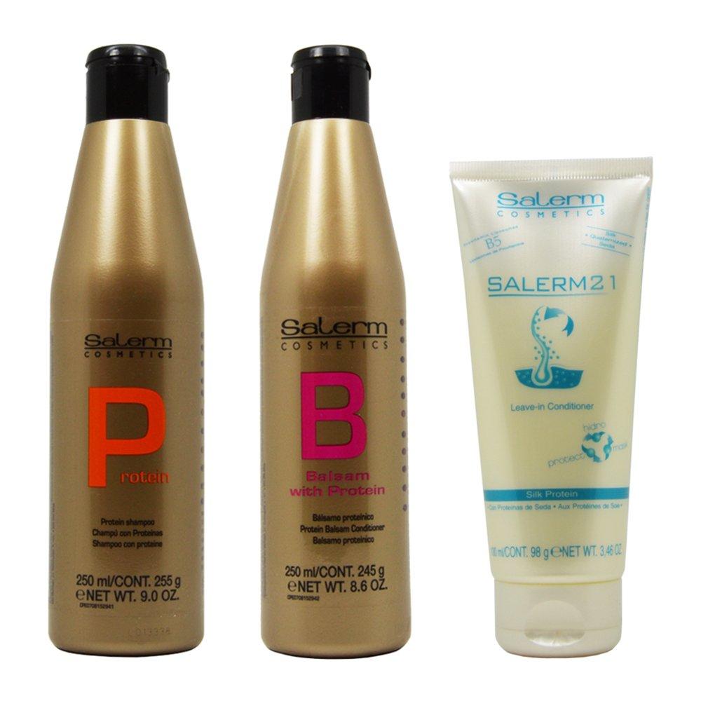 Salerm Protein Shampoo & Balsam Conditioner 250ml & 21 Silk Protein Leave-in Conditioner 100ml Set